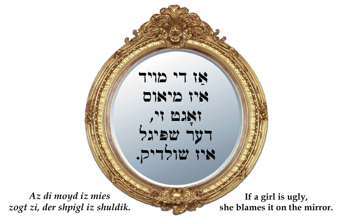 Yiddish: If a girl is ugly, she blames it on the mirror.