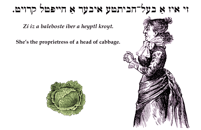 Yiddish: She's the proprietress of a head of cabbage.