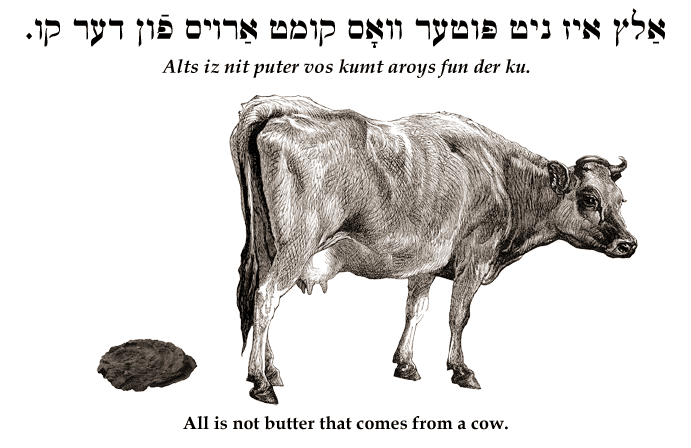 Yiddish: All is not butter that comes from a cow.
