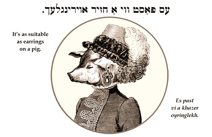 Yiddish: It's as suitable as earrings on a pig.