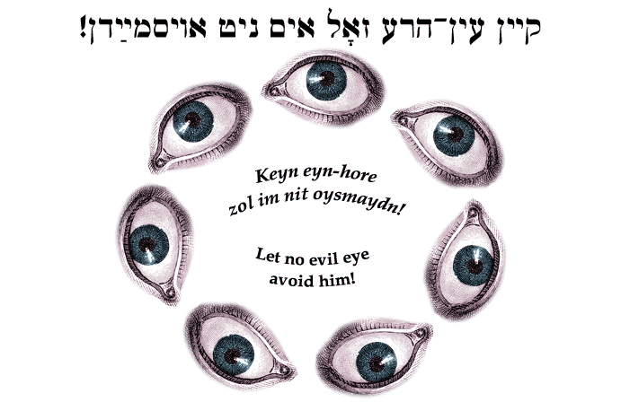 Yiddish: Let no evil eye avoid him!