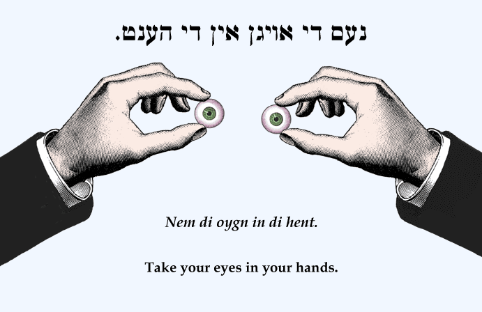 Yiddish: Take your eyes in your hands.
