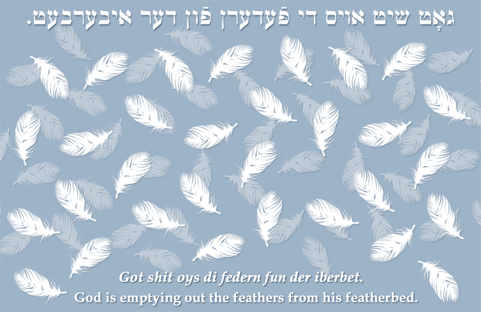 Yiddish: God is emptying out the feathers from his featherbed.