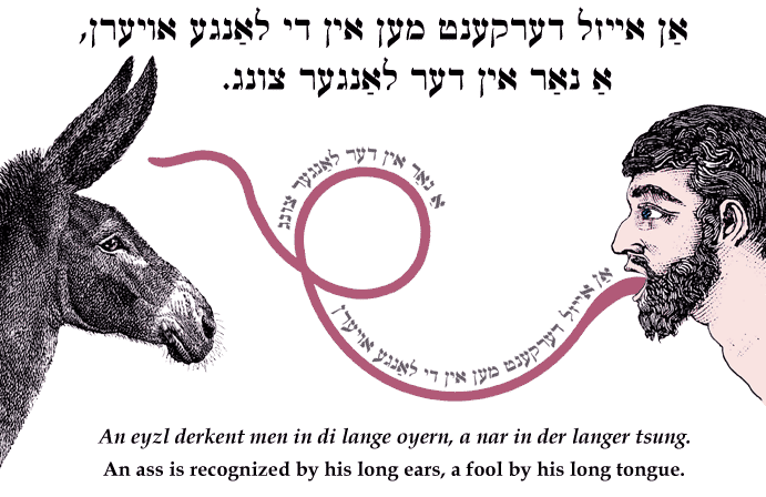 Yiddish: An ass is recognized by his long ears, a fool by his long tongue.