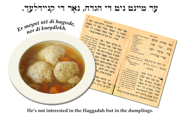Yiddish: He's not interested in the Haggadah but in the dumplings.