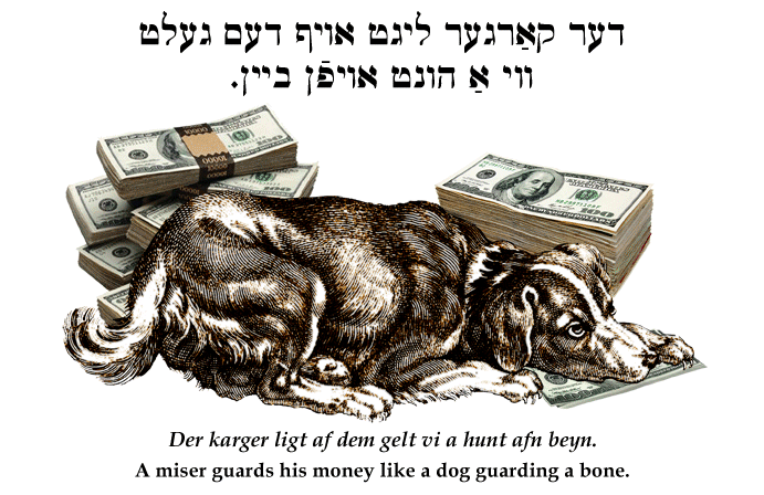Yiddish: A miser guards his money like a dog guards its bone.