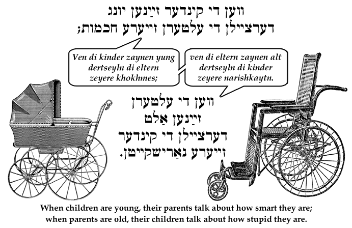 Yiddish: When children are young, their parents talk about how smart they are; when parents are old, their children talk about how stupid they are.