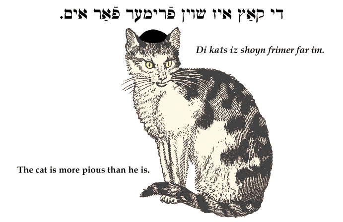 Yiddish: A cat is more pious than he is.