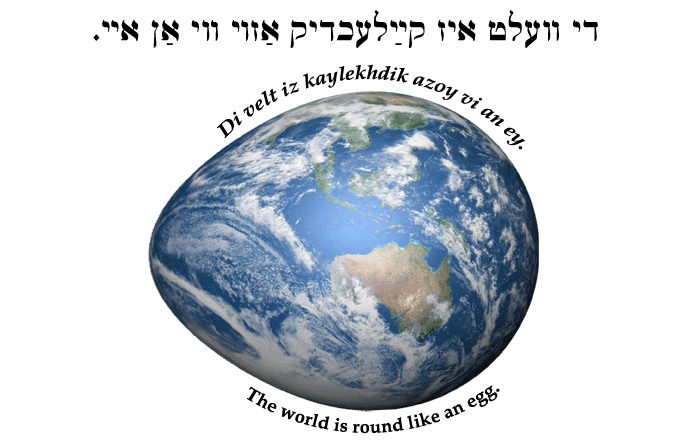 Yiddish: The world is round like an egg.