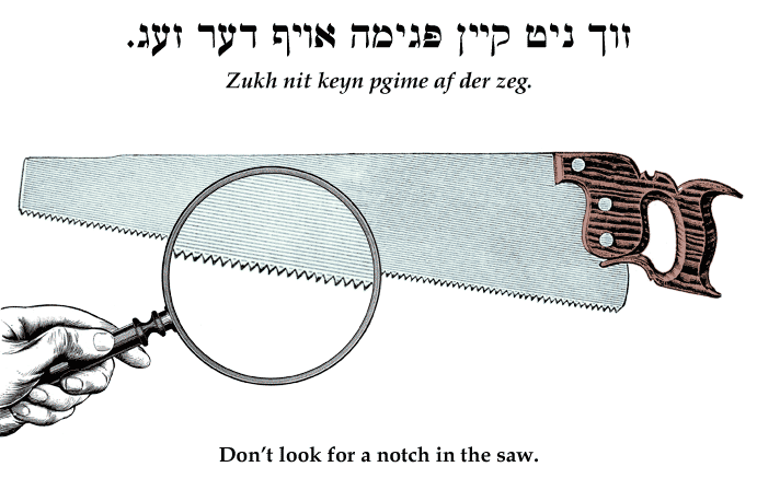 Yiddish: Don't look for a notch in the saw.