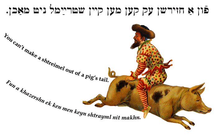Yiddish: You can't make a shtreimel out of a pig's tail.