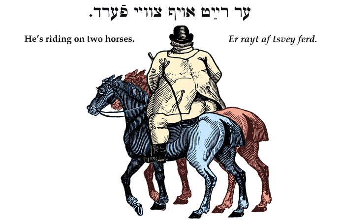 Yiddish: He's riding on two horses.