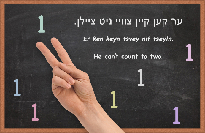 Yiddish: He can't count to two.