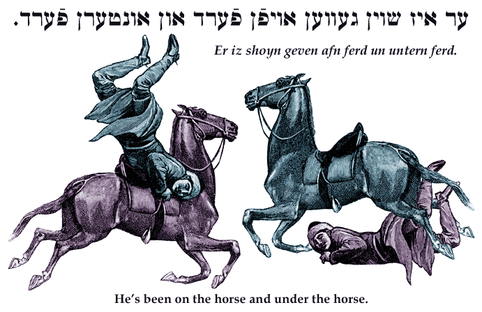 Yiddish: He's been on the horse and under the horse.