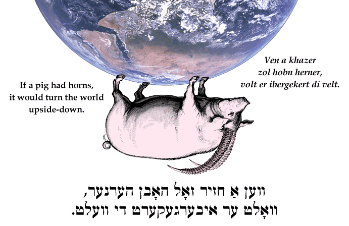 Yiddish: If pig a had horns, it would turn the world upside-down.