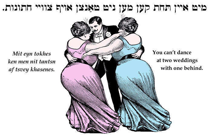 Yiddish: You can't dance at two weddings with one behind.