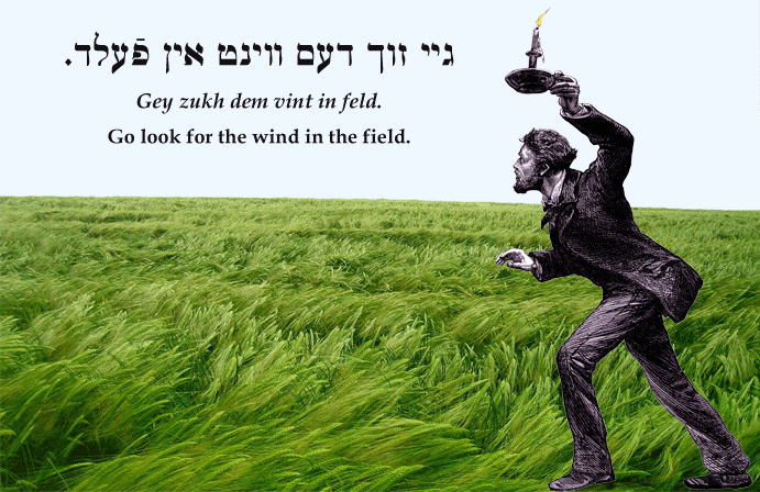 Yiddish: Go look for the wind in the field.